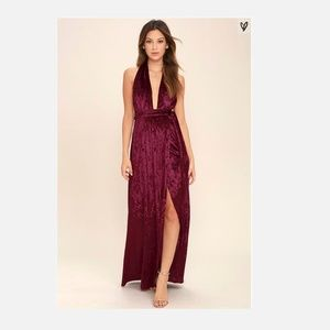 Lulu's Burgundy Aphrodite's Kiss Halter Maxi Dress